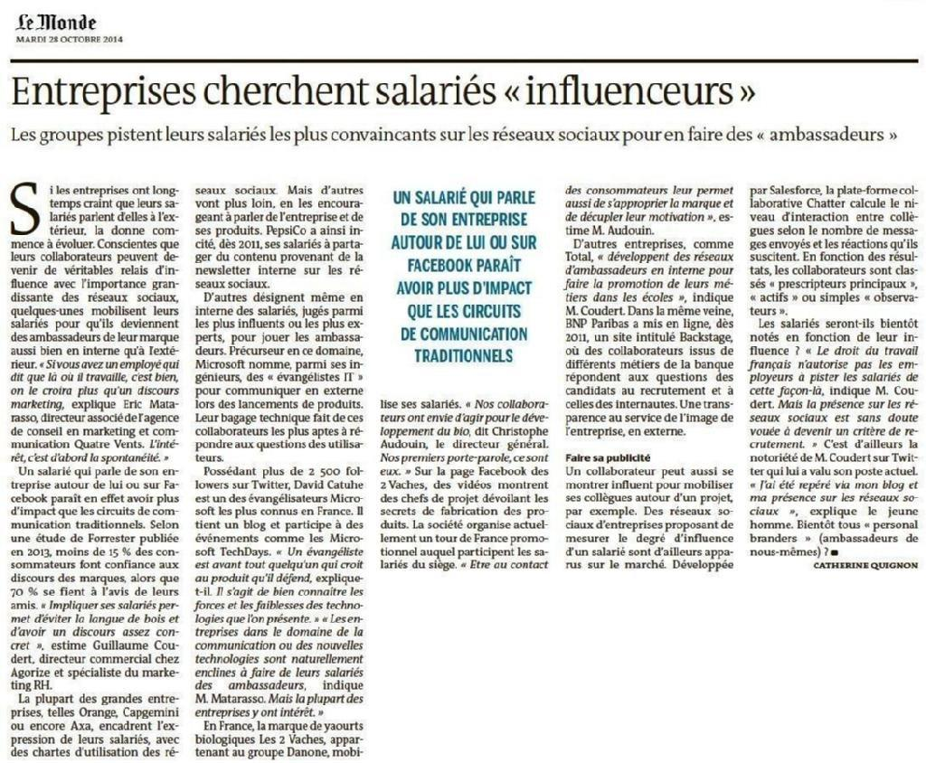 Entreprises cherchent salariés « influenceurs » (@CatherineQui @lemondefr via @sab_greich) #AmbassadeurEntreprise