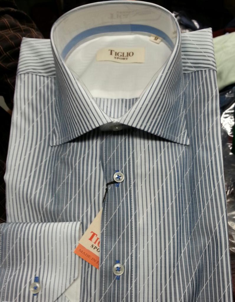 Platino 269//10 Tiglio Canaletto Italian Pure Cotton Dress Shirt~Regular Cuff~Purple Check~Model