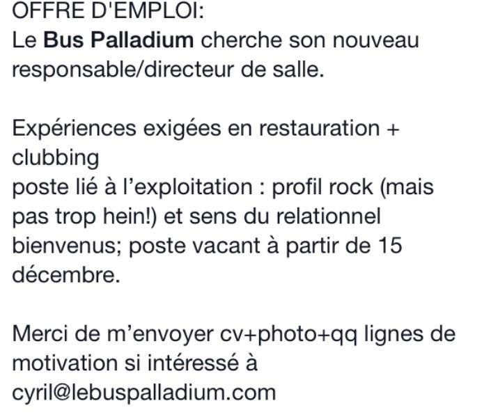 Bus palladium info en direct news et actualit en temps - Offre d emploi directeur office de tourisme ...