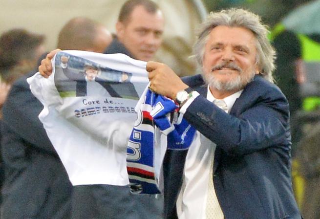 Ferrero Show con la maglietta dopo Samp Fiorentina 3-1