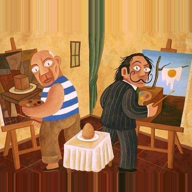 Picaso y Dalí pintando un huevo http://t.co/Wx4kF0tuSL