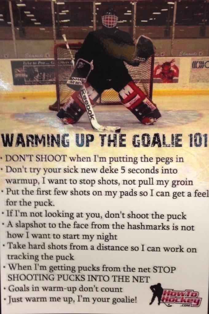 Waterloo Siskins On Twitter Rules For Warming Up Your Goalies
