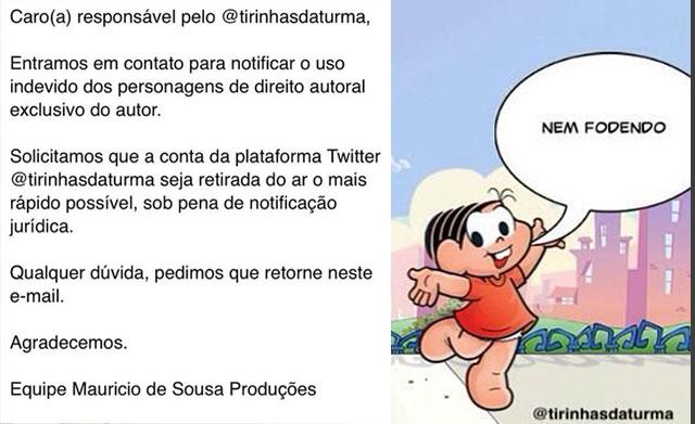 Maurício de Sousa pede pra @TirinhasdaTurma ser tirado do ar: http://t.co/S9aC9BNc5i http://t.co/jXkW7GGbgl