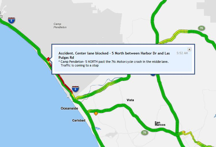 Coaster Camp Pendleton : SIG ALERT NB stopped north Coaster