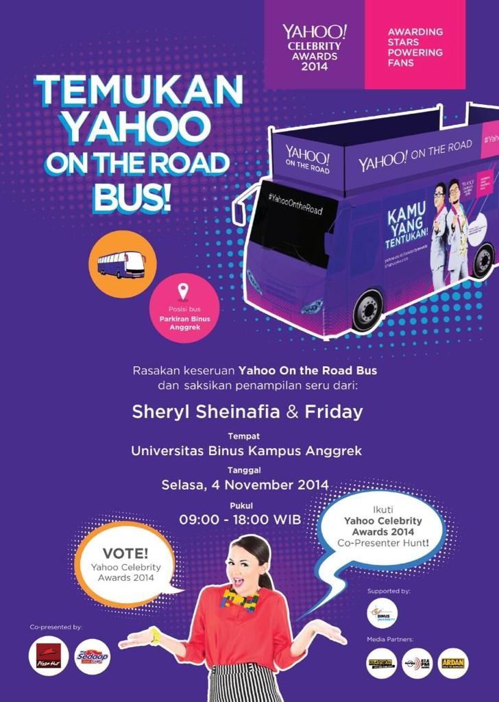 #YahooOnTheRoad Bus @BINUS_UNIV Kampus Anggrek with @sherylsheinafia & @FRIDAYtheband tomorrow presented by @Yahoo_ID http://t.co/Estxtb8dBk