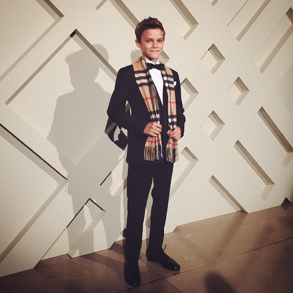 "Romeo Beckham, star of ""From London with Love"", on the red carpet at the premiere of the @Burberry festive film http://t.co/mF32kkqpp3"