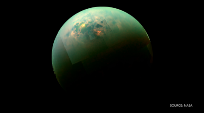 NASA captures a sun-glint over Saturn's moon, Titan. Our top photos: http://t.co/BT1enW46IL http://t.co/0Ya2rmzR08