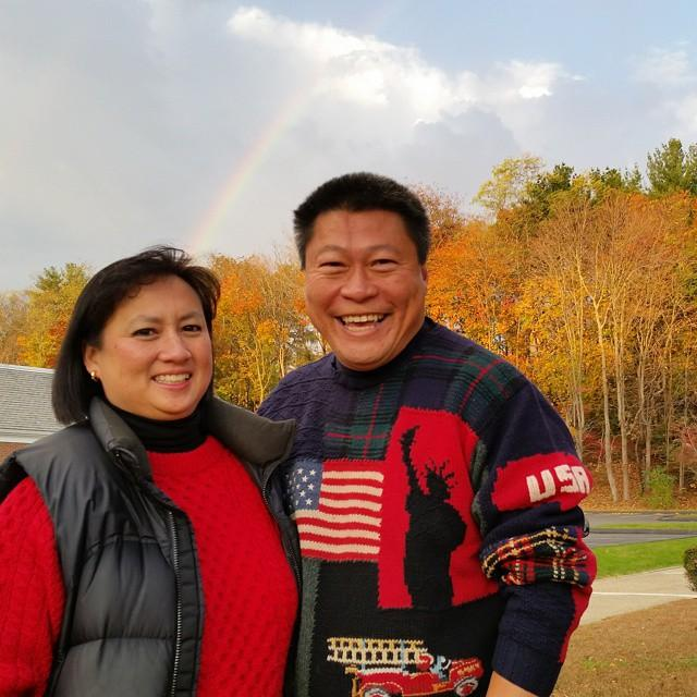 A great sign! There's a rainbow here at St. Pius in #FairfieldCT as Tony & Grace Hwang greet voters. #TeamTony #vote http://t.co/M7M6dIMHKg