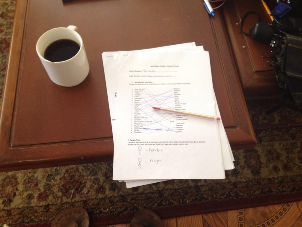 starting the day with grading English exams & some Ecuadorian coffee #dayinthelife #mpiecuador @mannaproject http://t.co/p6aRTOWT9O