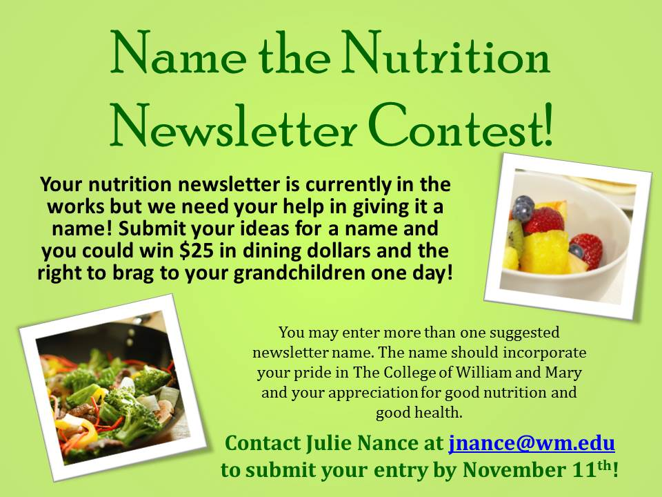 Nutrition News: nutrition newsletter ideas