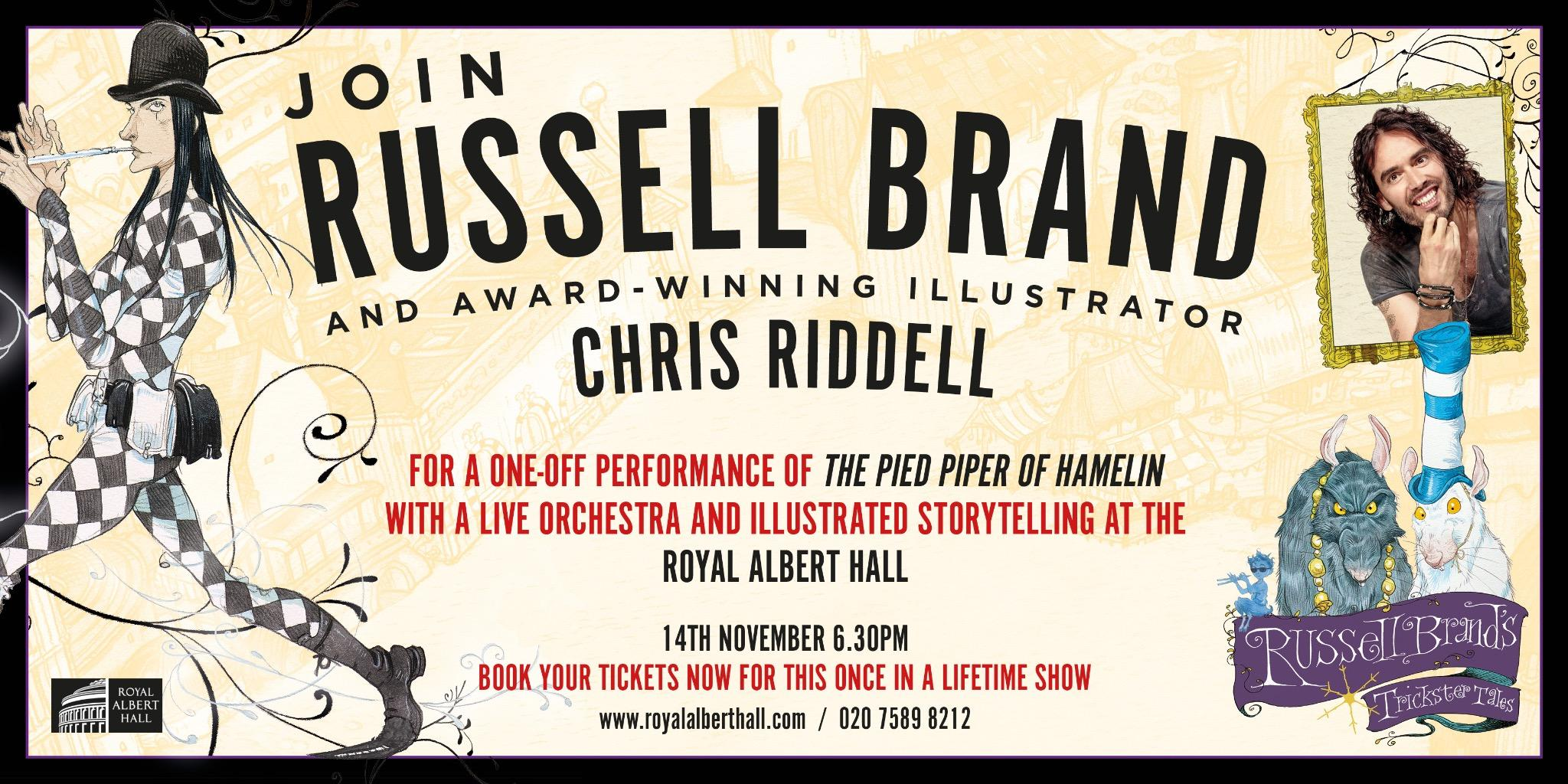 Love the sound of this unique charity event at the Albert Hall with Russell Brand & Chris Riddell. Do RT http://t.co/P20sgURge0