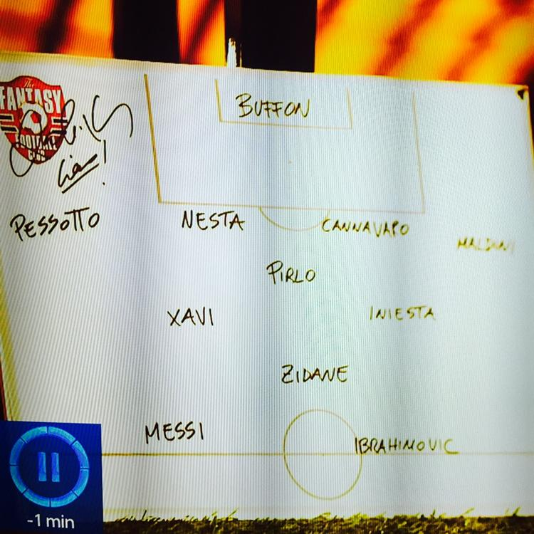 Watching a bit of Fantasy Football on Sky. Gianluca Zambrotta chooses the best XI he played with. Goodness me... http://t.co/lrSUFfSJQ3