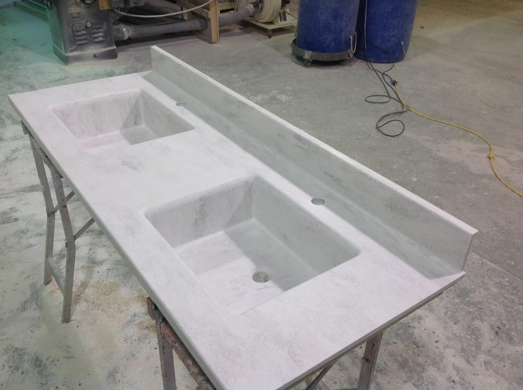 Vt solid surface on twitter corian rain cloud vanity top with 2 custom sinks made by vssi - Custom solid surface bathroom vanity tops ...