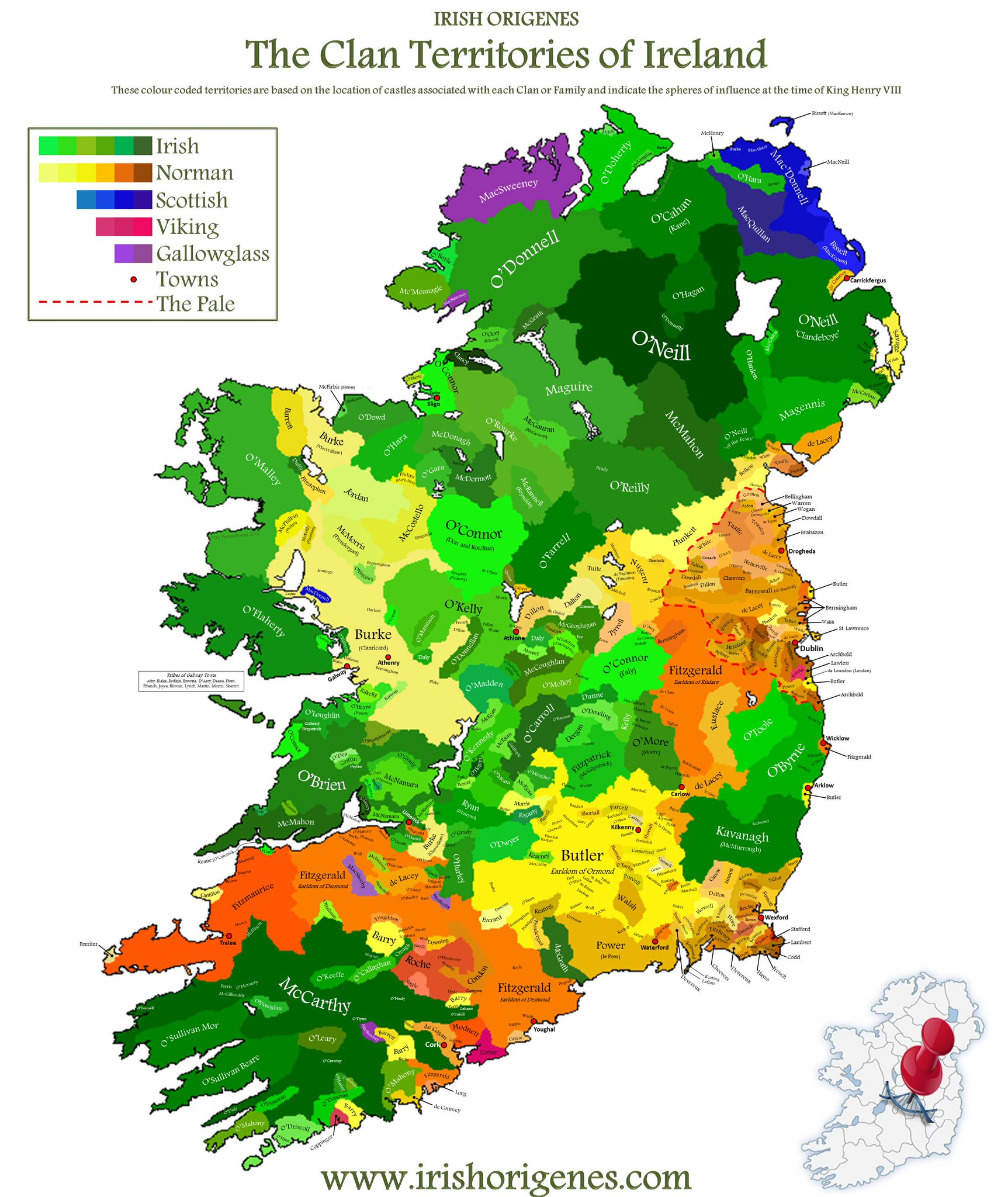 Large Map Of Ireland.Brilliant Maps On Twitter Clan Territories Of Ireland Http T Co