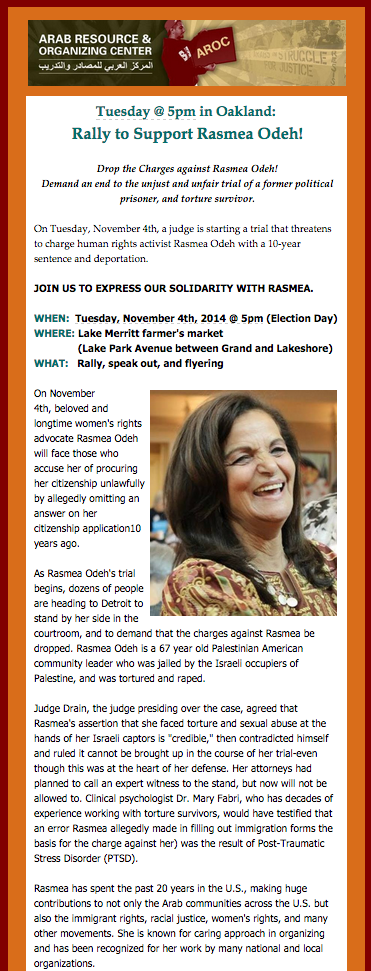 Rally to Support Rasmea Odeh @ Lake Merritt Farmer's Market | Oakland | California | United States