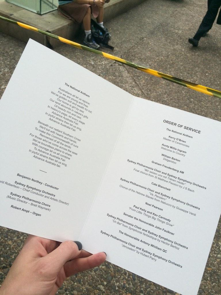 Program for the #goughwhitlam memorial service @amworldtodaypm @abcnews #whitlam http://t.co/nR1xcGHQsB