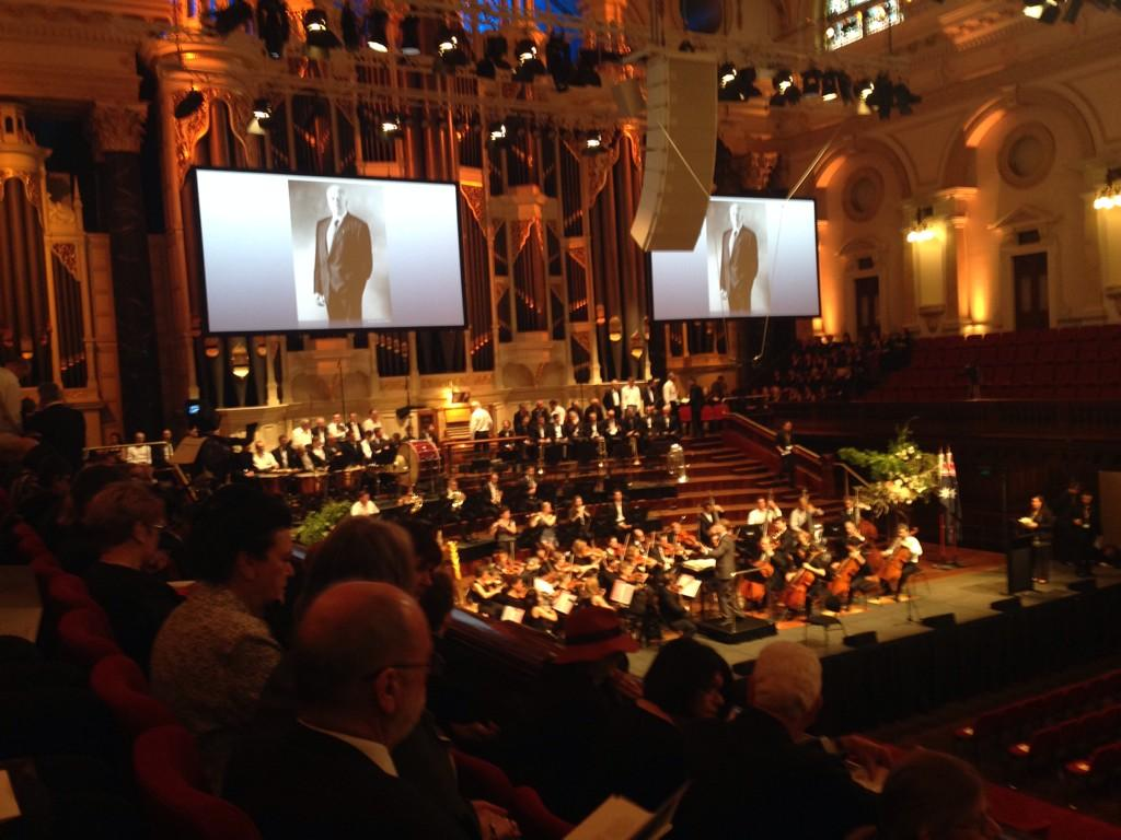 Sitting in Town Hall waiting for Whitlam Memorial to begin - a great Australian http://t.co/WYeehDq3zh