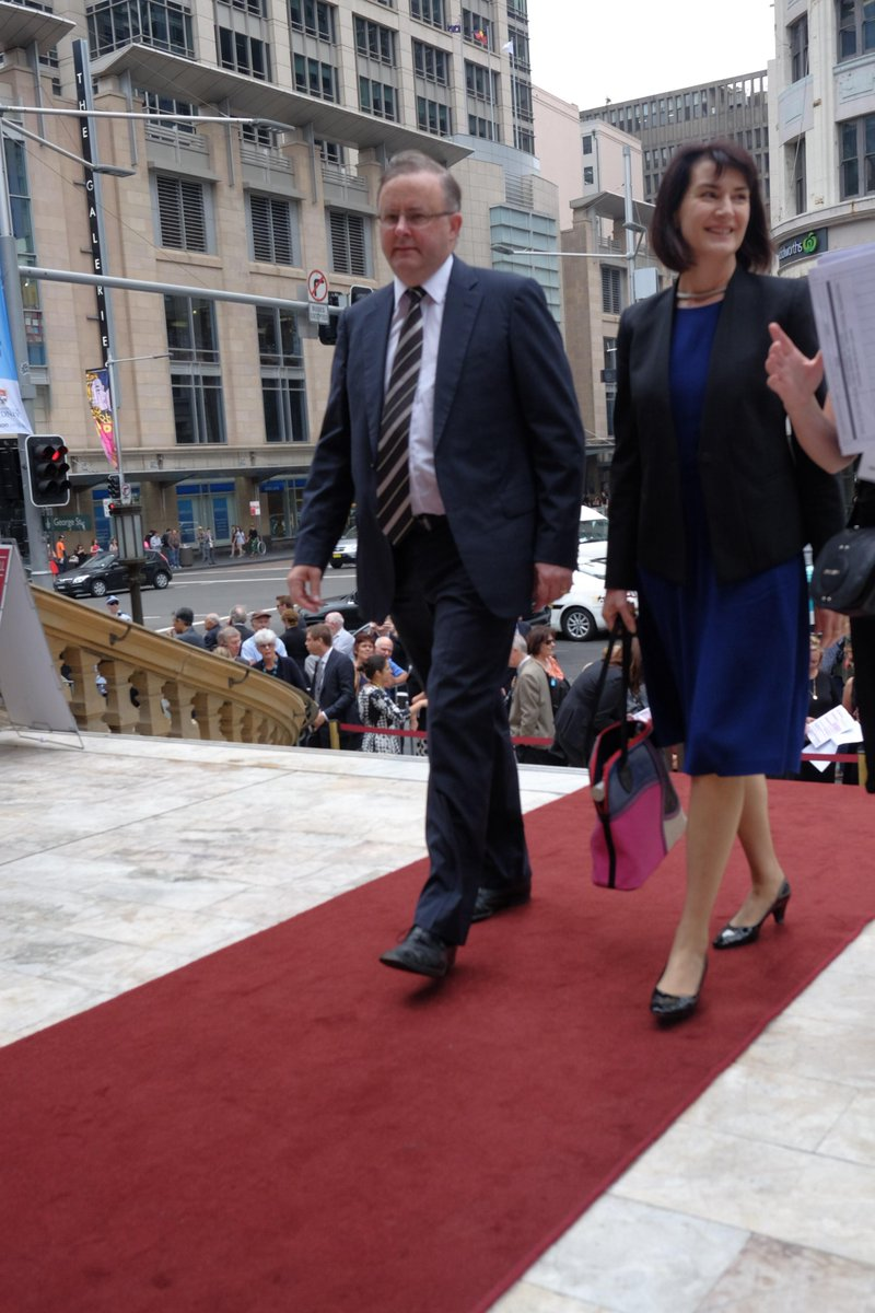 .@AlboMP and Carmel Tebbutt arriving at Town Hall for Gough Whitlam's memorial service. Photo by @John__Donegan http://t.co/NVhdLDkJDV