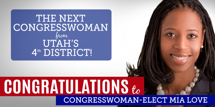 Congrats to @MiaBLove, the next Congresswoman from #UT04! For more updates, go here: http://t.co/f0R7xIruYg http://t.co/2hGoo8fJ2K
