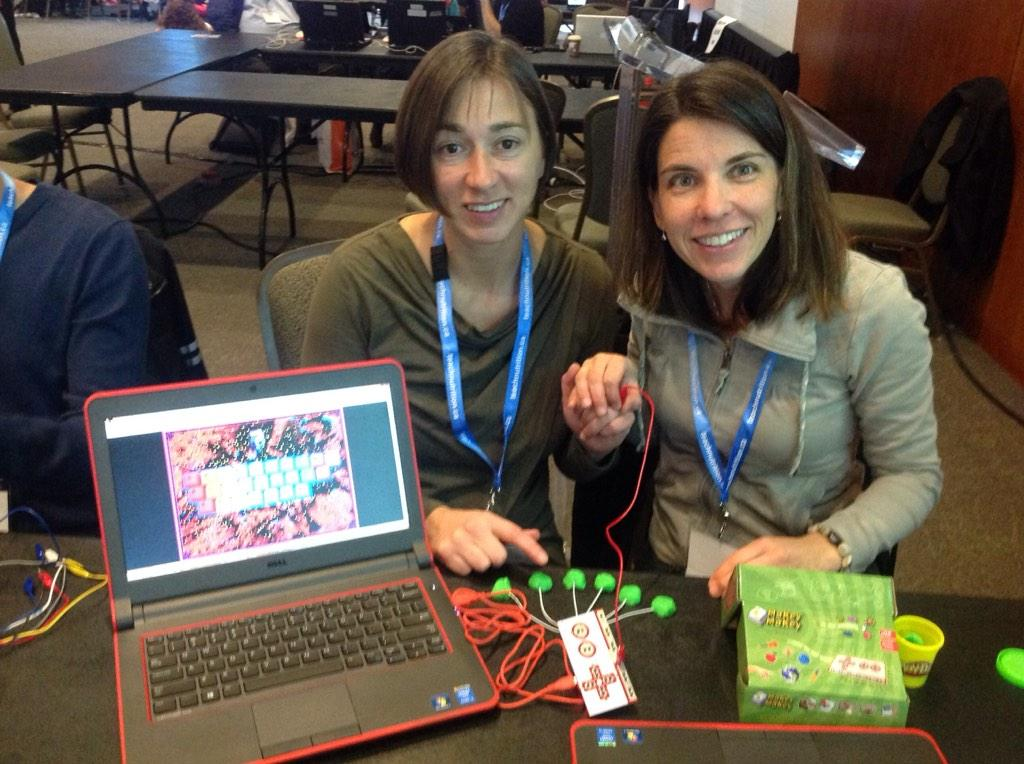 I'm in heaven at the Makey Makey station at Minds on Media. @jamilamonahan & @debshackell are creating music! #bit14 http://t.co/ZqeODJVhOw