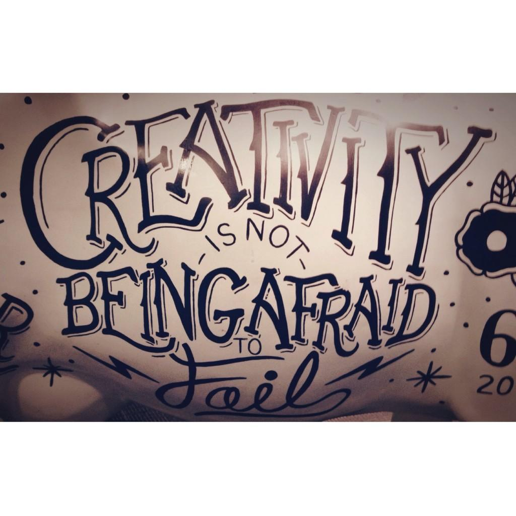 """Creativity is not being afraid to fail."" Love this inspirational #handlettering I stumbled across today in #Detroit. http://t.co/onu7dxT8aP"