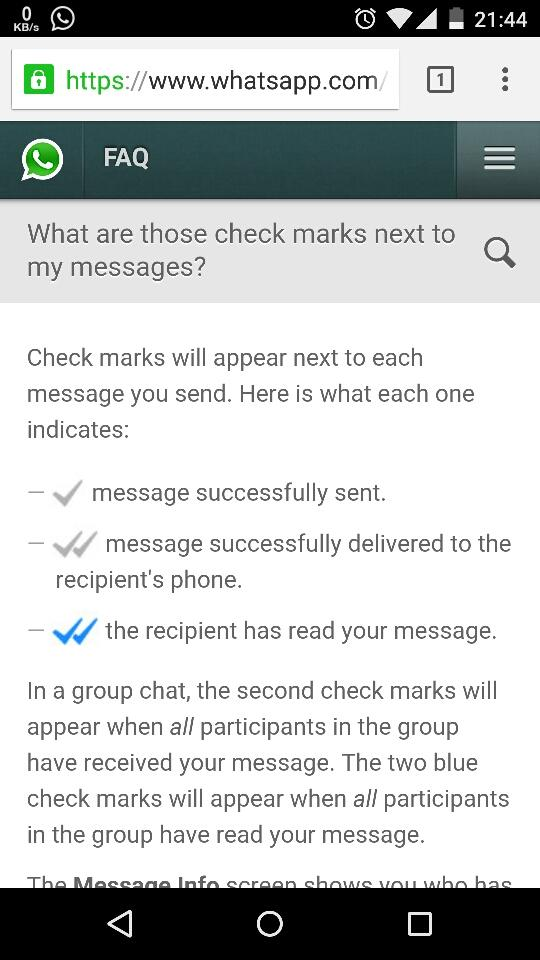 From WhatsApp FAQ the two blue ticks = read feature is rolling out as a server change... http://t.co/ikIlFQCobD