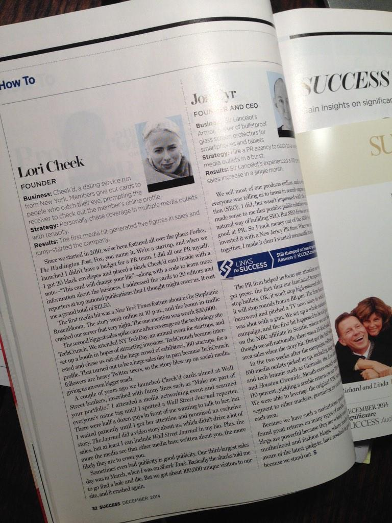"Cheeky hits the December Issue of @SUCCESSmagazine! Check out my ""tenacious"" startup PR & Marketing strategies here! http://t.co/55WysxC8WJ"