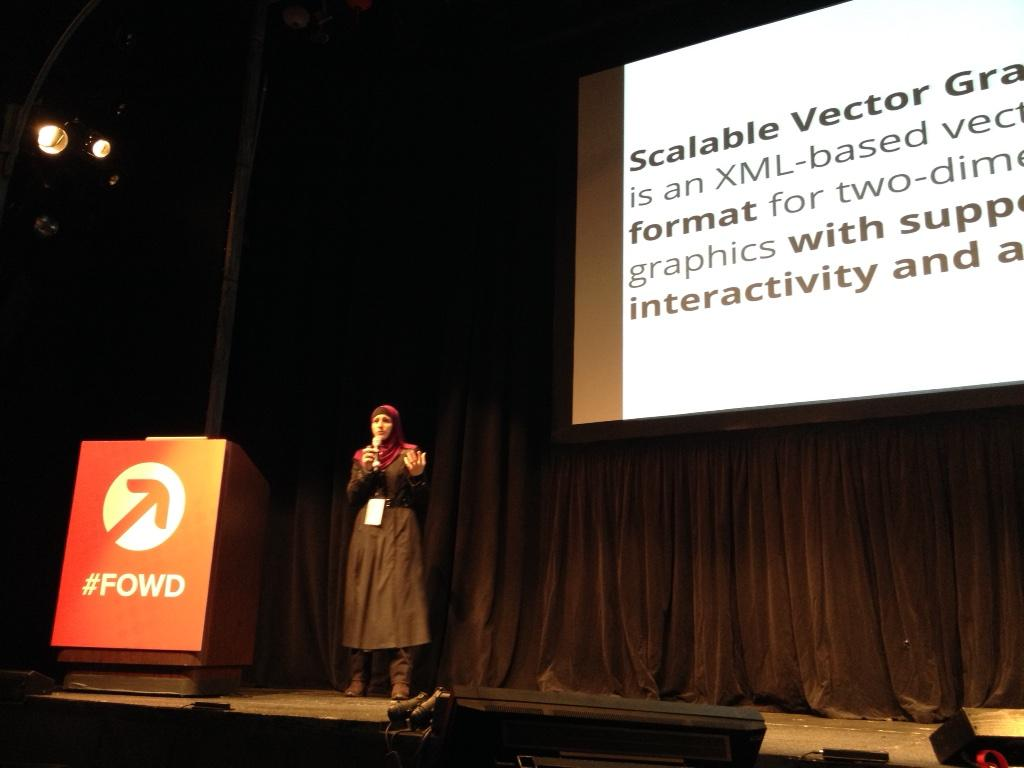 At @FOWD, @SaraSoueidan talking about animating and styling SVG http://t.co/nyG6NE0CE9