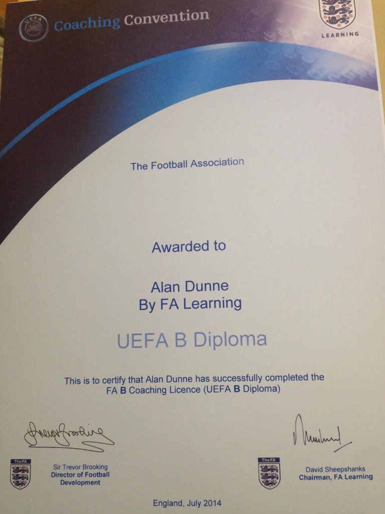 Alan Dunne On Twitter Finally Got My Uefa B Qualification