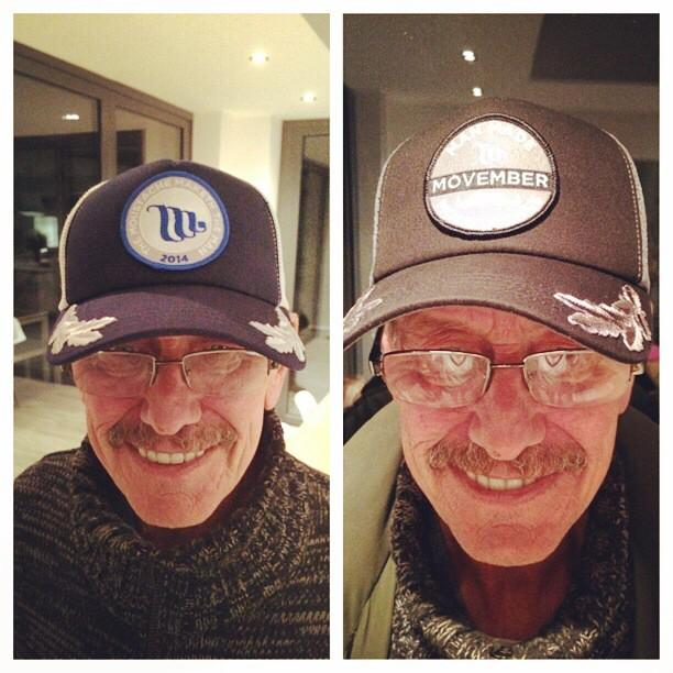 My dad modelling Movember caps for @luckysevencap complete with tache  #colinincaps http://t.co/N9bLe2Z4Vv