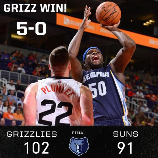 #Grizzlies Win! They defeat the #Suns 102-91. We move on to 5-0! Whoop! 4 starters score in double digits: @Macbo50 http://t.co/oJhy3DoiHs