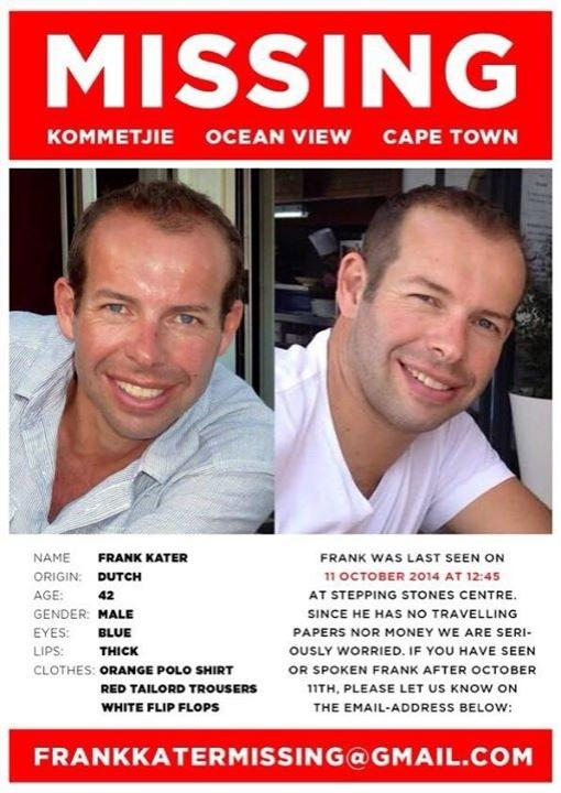 Vermist in Zuid-Afrika -Kaapstad/ missing in Cape town area: friend Frank Kater. Please RT! http://t.co/CGHuqeEzME