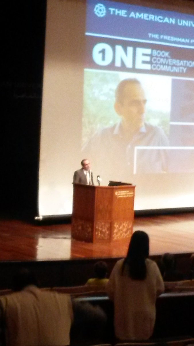 "The Egyptian author and ambassador ""wrote 3 volumes of short stories in arabic"" #AUC http://t.co/urIxogjtbI"
