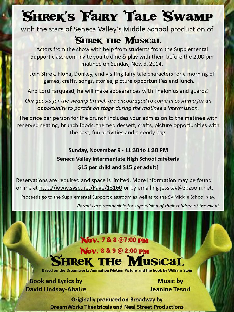Seneca Valley On Twitter SVMS Presents Shrek The Musical This Weekend In IHS Auditorium Tco HhByQvcdrc OOswj37Aql