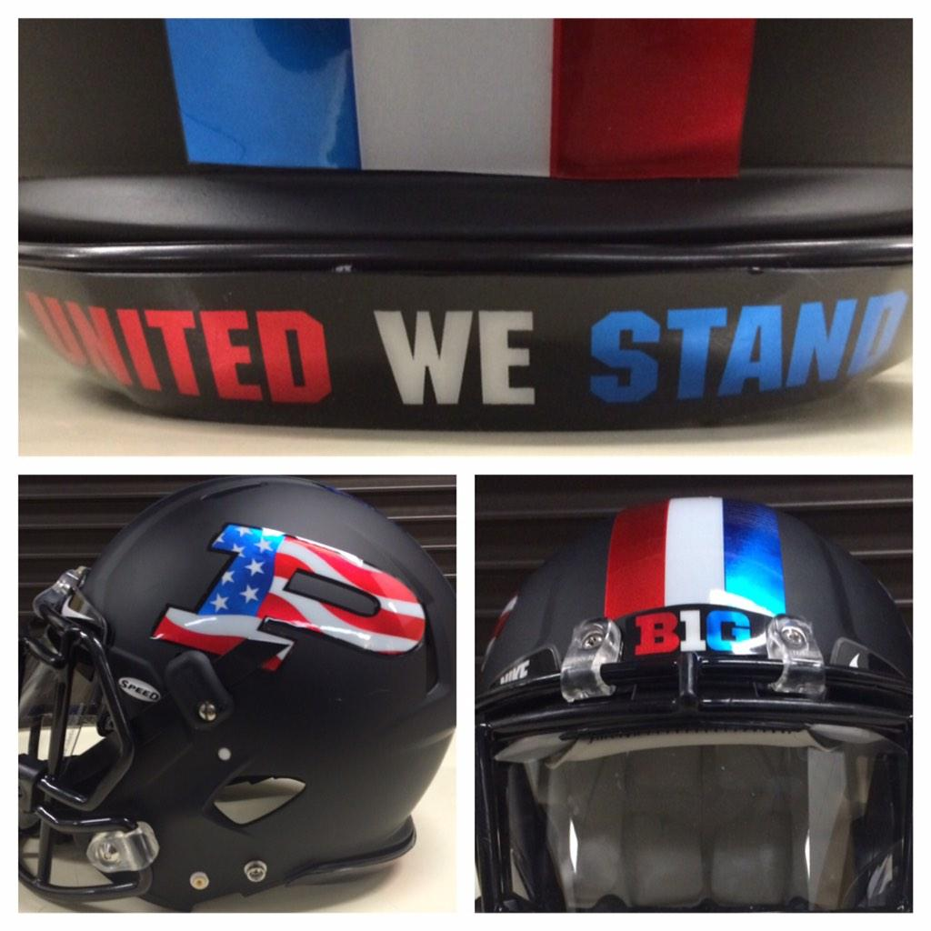 Here is the helmet we will wear for Military Appreciation Day on Saturday. #UnitedWeStand #BoilerUp http://t.co/he6NmP7Ylh