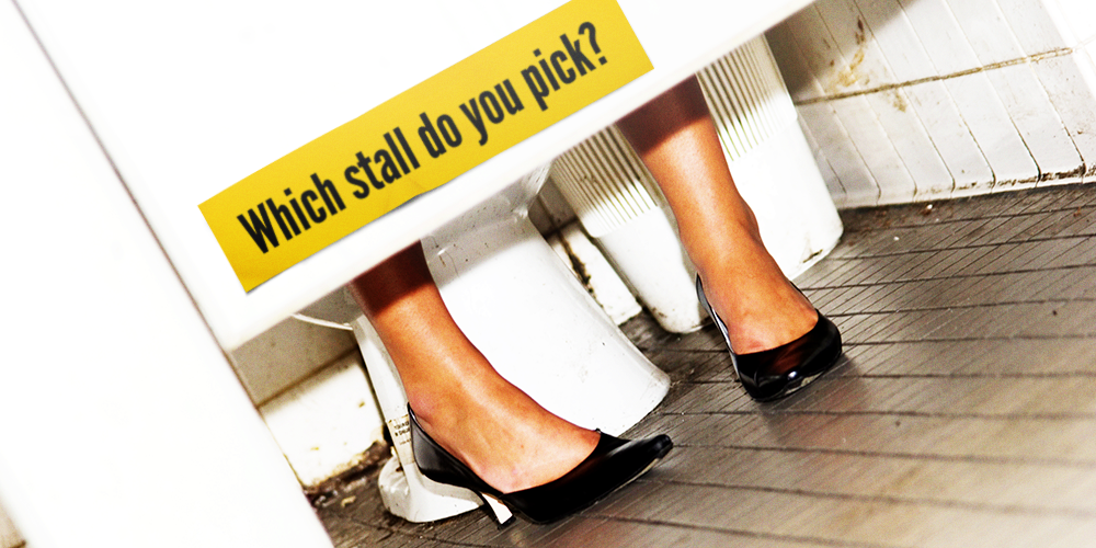 Only 2% of women use the first stall in a public bathroom because 98% think it's the one most used & least clean. http://t.co/EeyE9JnYYA