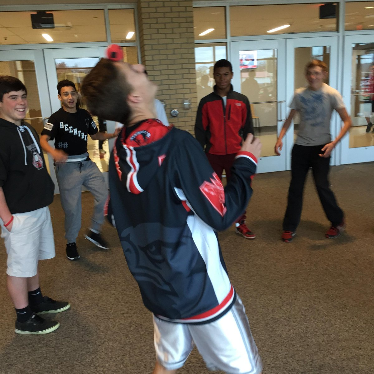 Hacky sack at lunch.  I could only hit it 2 times in a row.   #shadowastudentforaday http://t.co/v2FtjMQgZT