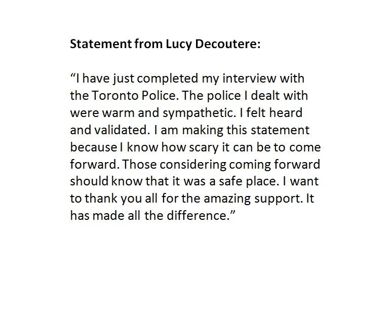 Here is the full statement from Lucy DeCoutere after meeting with Toronto Police. #JianGhomeshi http://t.co/2NesP1zAYz