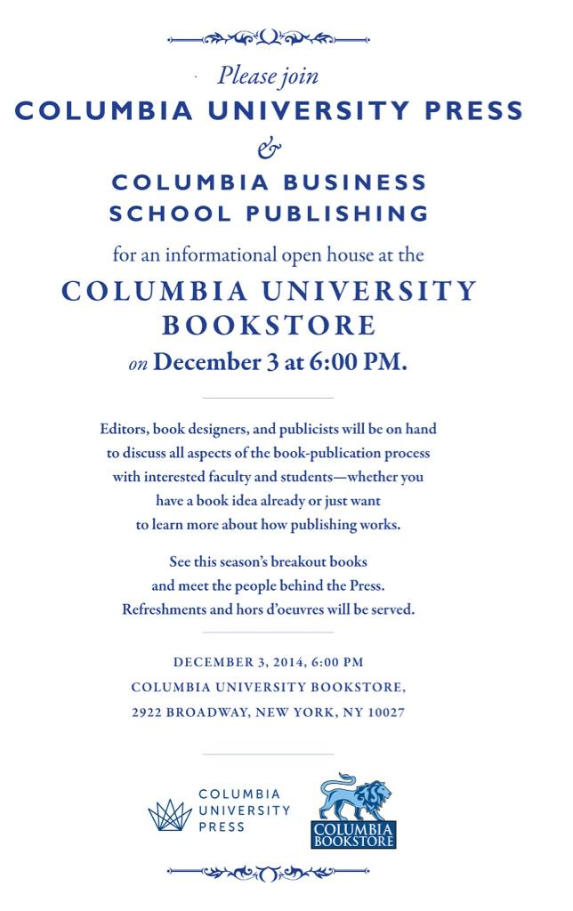 Columbia University Bookstore Event