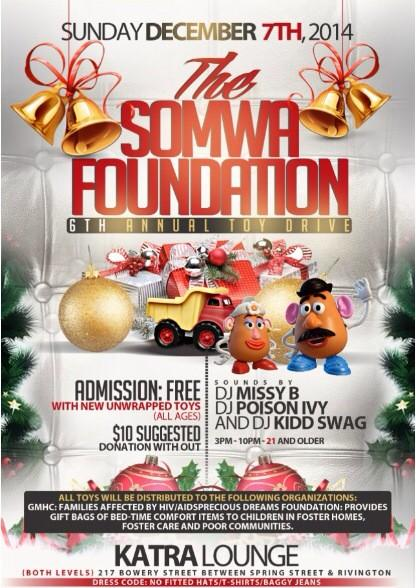 Somwa 6th annual toy drive Sun 12/7 supporting @PDFNY & @GMHC at Katra Lounge. Come out & help us make a difference. http://t.co/CASwc48uvY