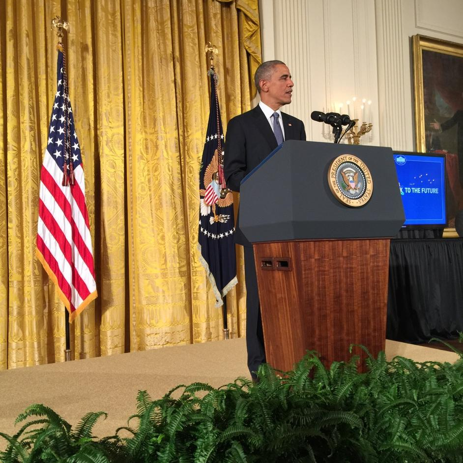Listening 2 POTUS share in a 21st economy - need PK, Girls 2 study STEM, redesign hi schls, engage w PBL #futureready http://t.co/K9aTFXKK8L