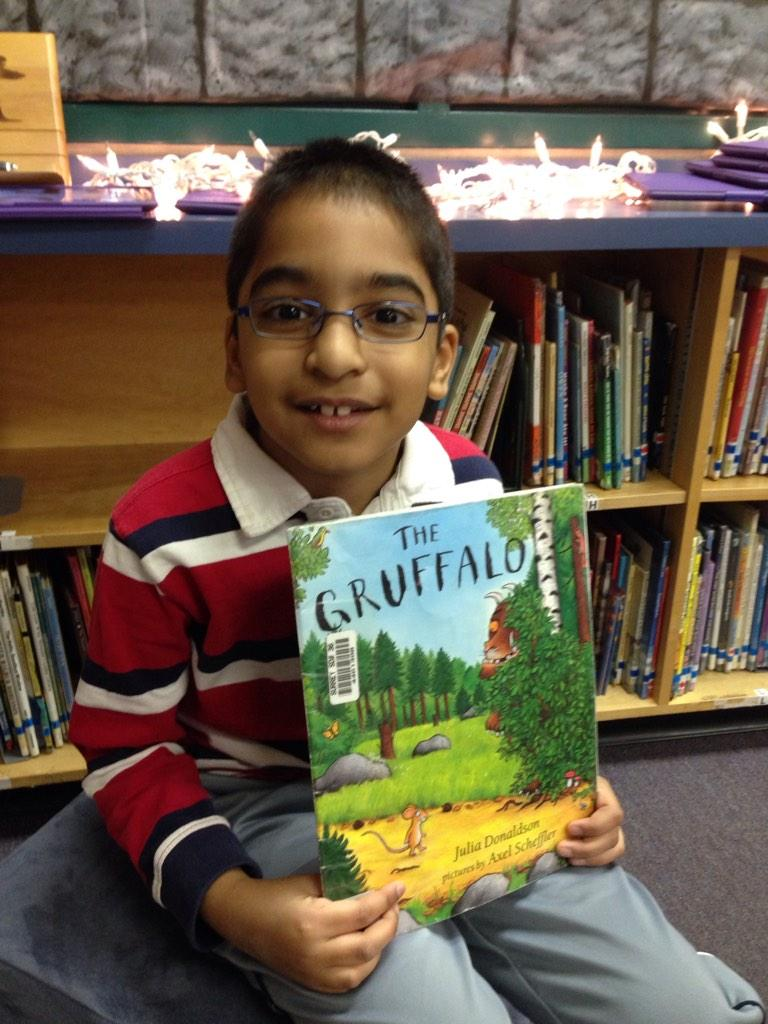 The Gruffalo. I like the part when he ran away and his favourite food was Gruffalo crumbs. MN #gvlearn http://t.co/r3yYrMAGMa