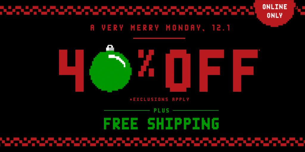 Happy #CYBERMONDAY! Take 40% off plus free shipping, online only. Use code CYBERDAY: http://t.co/jOXz500wZK http://t.co/dlsCZ9J2MH