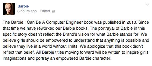 """.@Barbie issues an apology for their sexist book """"Barbie: I Can Be A Computer Engineer"""" #NotBuyingIt http://t.co/rfx5ykcNfb"""