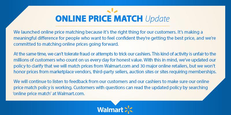 walmart price match policy update