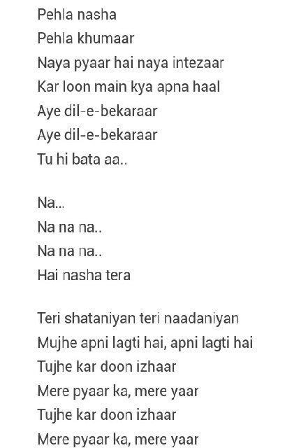 Pehla Nasha Song Lyrics