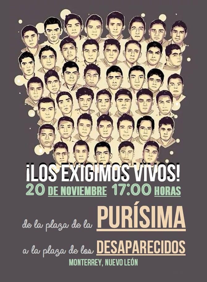 Mañana #Monterrey tiene voz #PlazadePurisima #YaMeCanse #AcciónGlobalporAyotzinapa #Mexico http://t.co/i9ZuMVeqAe