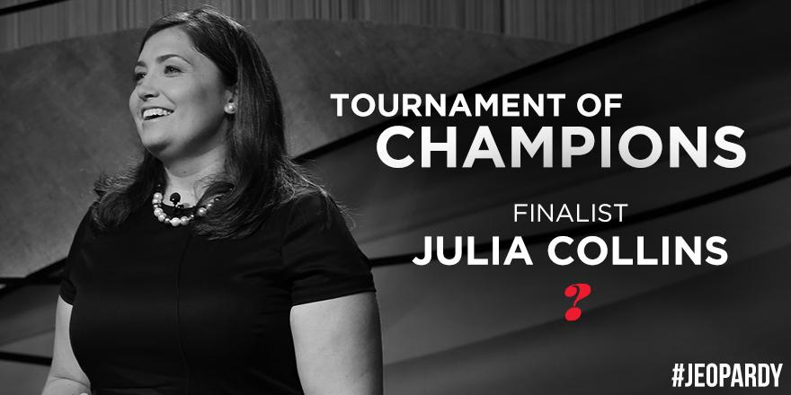 Let Julia Collins (@JeopardyJulia) know you're behind her on today's #Jeopardy! #TournamentOfChampions. RT now! http://t.co/TRTjZSxW6V