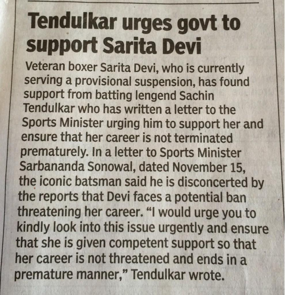 Truly admirable of @sachin_rt to write to the Sports Minister on behalf of Sarita Devi..  #Respect