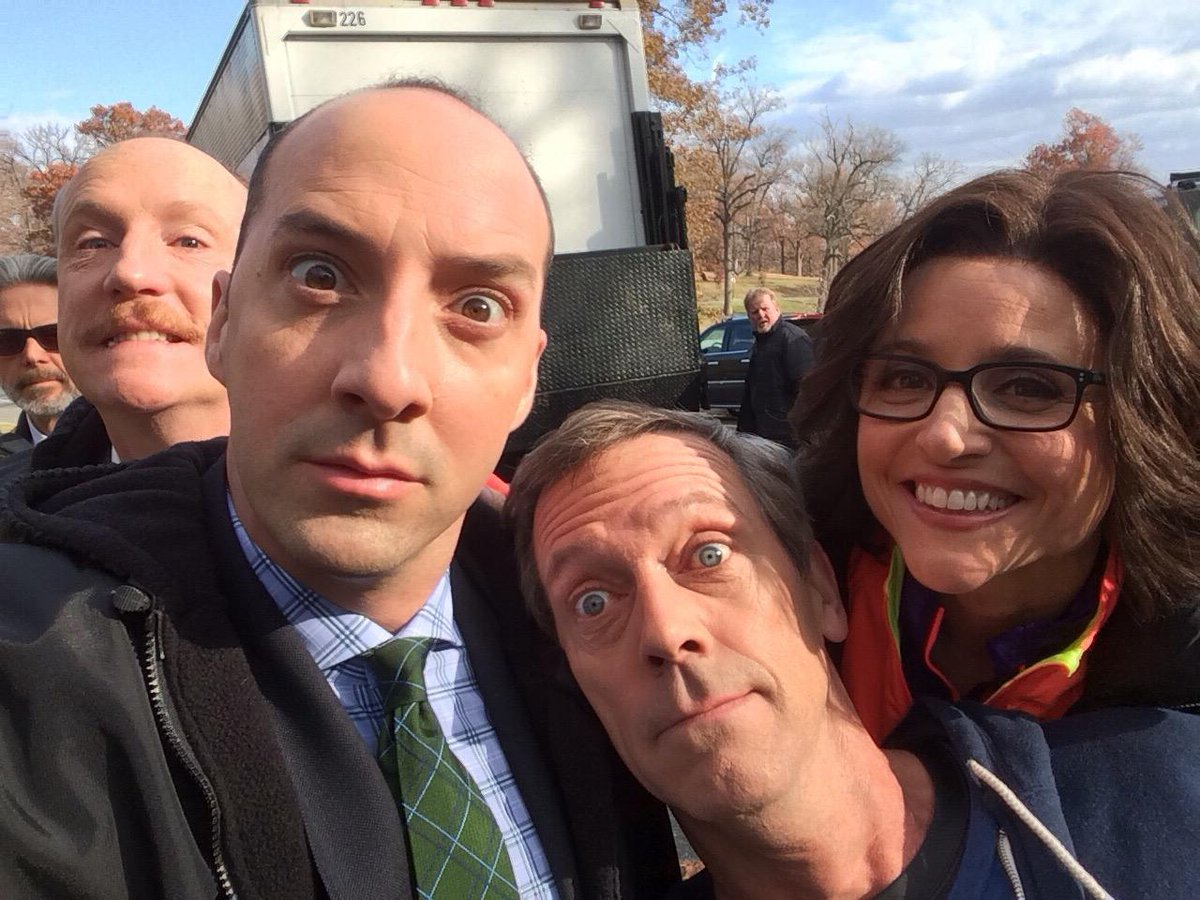 We're honored to be working with this goofball! @hughlaurie @OfficialJLD @mrmattwalsh @VeepHBO http://t.co/4Cb4oWCwCU